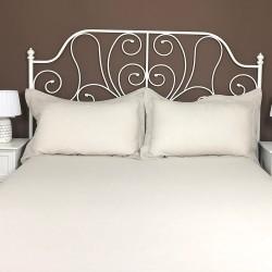 Pillowcase Oxford Linen Atlanta Cream Colour Bed View