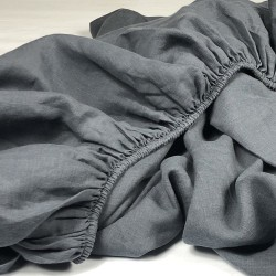 Fitted Sheet Linen Atlanta Charcoal