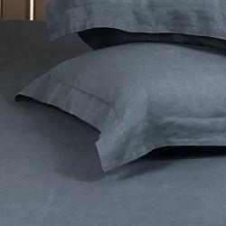 Pillowcase Oxford Linen Atlanta Charcoal Close View
