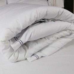 Duvet Cover Egyptian Cotton 200 Thread Count Percale Porto Blue trim rolled up