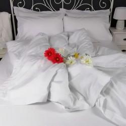 Duvet Cover Egyptian Cotton 200 Thread Count Percale Porto White trim ruffled style