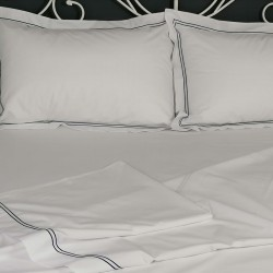 Flat sheet blue trim Egyptian Cotton 200 Thread Count Percale Porto with pillows view